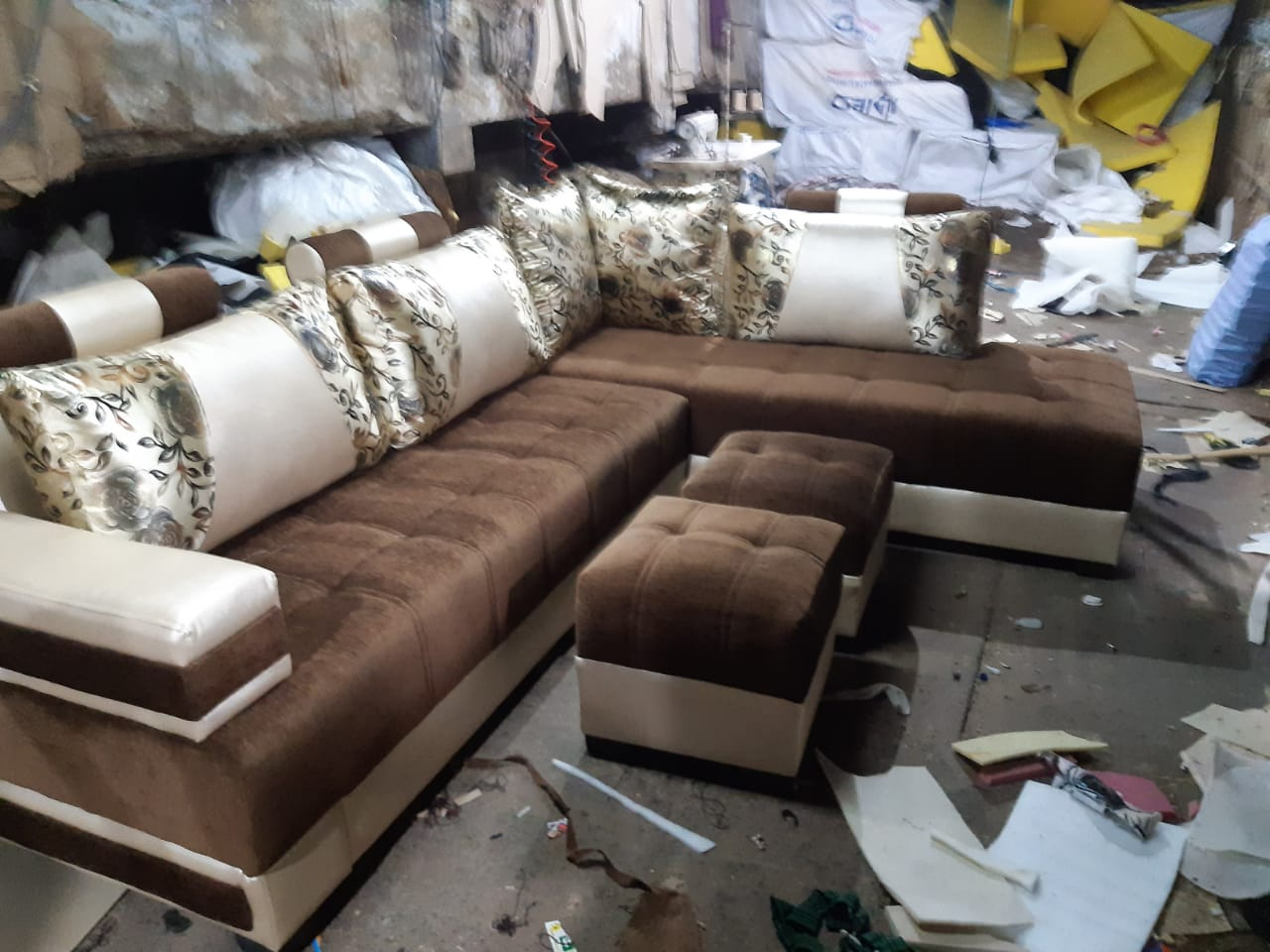 L Shape Sofa Set with Center Table and 2 Puffy Standard ...